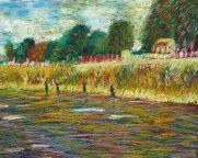 "12"" x 14"" Oil Pastel on Black Cardboard adapted from Van Gogh Painting"