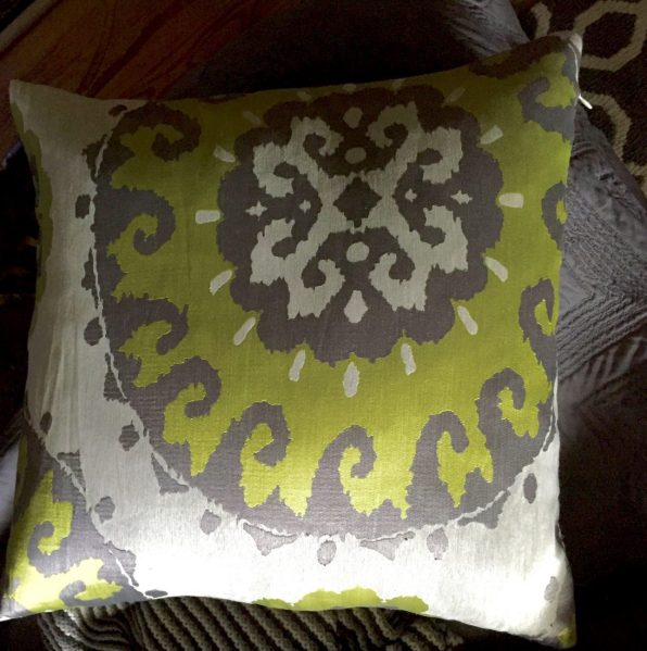 Grey and Lime Green Pillow