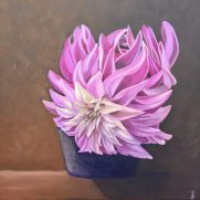 "Dahlia_12""x12""_Oil on Ampersand Board"